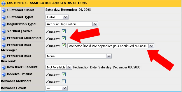 Preferred Customer Messages – Site Store Pro